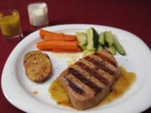Tunfischsteak mit Gemüse und Dips - Grilled Ahi Tuna with vegetables and dip - Rezept