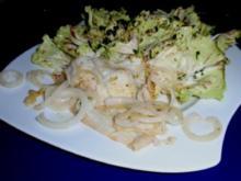 Schollenfilet Natur mit Gemüsezwiebel und Trevisana-Salat - Rezept