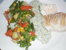 Kabeljaufilet mit Gemüse und Dillsoße - Rezept