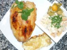 Ingwer-Chili-Hähnchen mit Physalis-Bohnensalat und überbackenem Trüffelbrot - Rezept