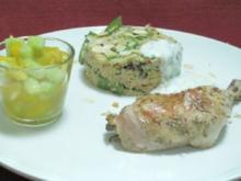 Zitronenhühnchen an Gemüse-Couscous und kleinem Mango-Gurkensalat - Rezept