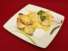 Hähnchenbrustfilet im Speckmantel in Kräutersoße überbacken, dazu Butterspätzle (Benny Kieckhäben) - Rezept