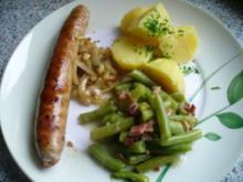 Bratwurst und  grüne Bohnen - Rezept