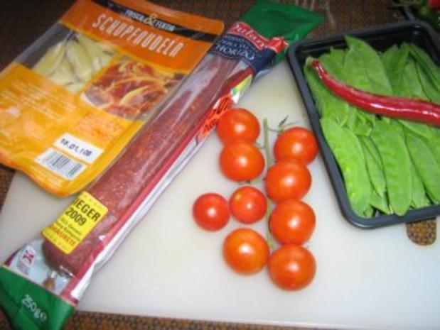 Chorizopfanne mit Schupfnundeln und Kaiserschoten - Rezept - Bild Nr. 2