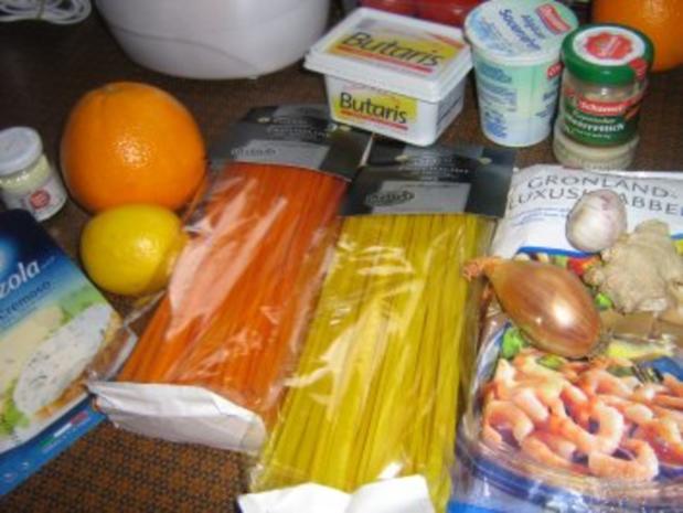 Orangen-Limonen-Taglione mit einer Garnelen-Gorgonzola Soße - Rezept - Bild Nr. 2