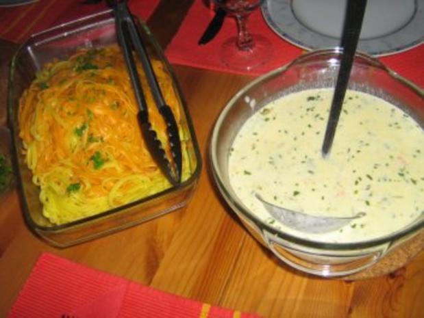 Orangen-Limonen-Taglione mit einer Garnelen-Gorgonzola Soße - Rezept - Bild Nr. 5