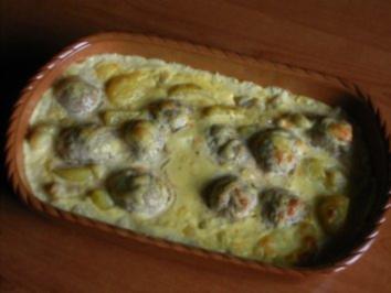 Rezept: Blumen-Kartoffel-Kohl-Gratin mit Hackbällchen