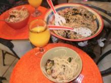 Spaghetti mit grilled Shrimps, Zucchini, und Salsa Verde Sosse - Rezept