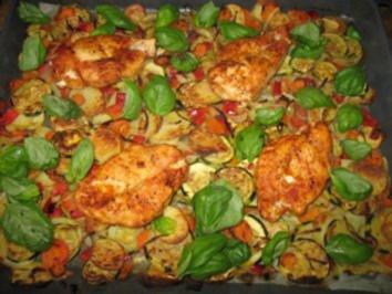 Gegrilltes Gemüse mit Hähnchenbrust - Rezept