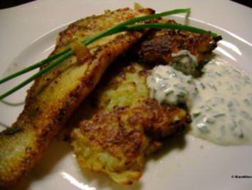 Rezept: Fisch: Zanderfilet auf Kohlrabipuffer mit Schnittlauchcreme