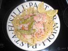 Lachs-Gemüse-Spaghetti in ZItronensoße - Rezept