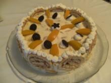 TORTE - Pfirsich-Quark-Biskuitrollen-Torte - Rezept