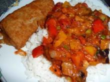 Ratatouille auf Reis mit Backfisch - Rezept