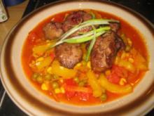 Fleisch: Hähnchenleber auf scharfem Mexiko Gemüse - Rezept