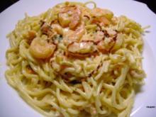 Pasta mit Graved Lachs - und Riesengarnelen - Rezept