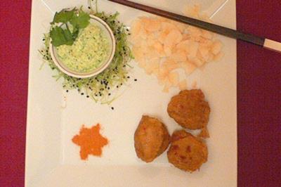 Linsenbällchen mit Joghurt-Koriander-Dip - Rezept