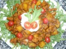 Kartoffel-Gyrospfanne auf Rucola mit Auberginen-Nocke - Rezept
