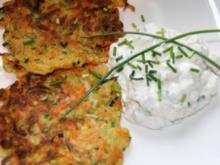 Vegetarisch: Gemüsepuffer mit Quarkdip - Rezept