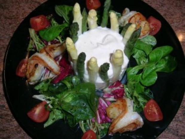 Chartreuse vom grünen und weißen Spargel mit Garnelen - eine tolle Vorspeise - - Rezept - Bild Nr. 2