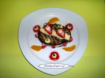 Erdbeerzunge mit Vanille-Sahne-Creme - Rezept
