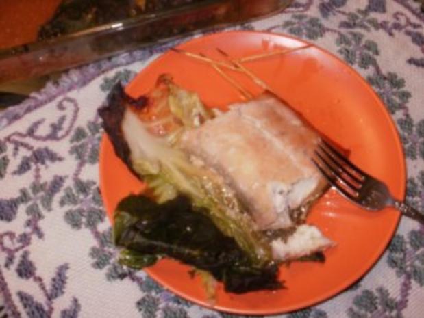 Fisch- Gedaempfter Fisch in Weiskohlblaetter mit Hoisin Sosse und Ingwer - Rezept