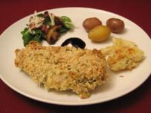 Hähnchenbrust im Mandel-Kräuter-Mantel mit Fenchel und Baby-Spinatsalat - Rezept