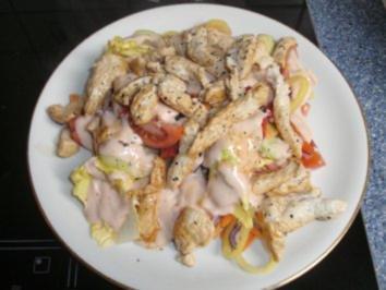 Salat mit gebratenen Putenstreifen - Rezept