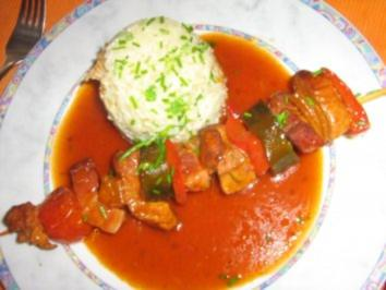 Schaschlik von der Pute mit Gemüse an Basmatireis - Rezept