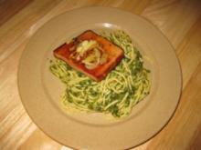 Spinatspaghetti mit Fleischkäse - Rezept