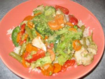 Puten-Gemüse-Pfanne mit einer Erdnusscreme - Rezept