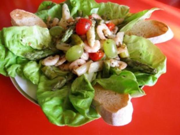 Spargelsalat  -  fruchtig mit Garnelen - Rezept - Bild Nr. 2