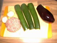 Nudelsoße / Gehacktessoße mit Zucchini und Aubergine Fettarm - Rezept