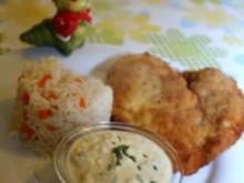 Kräuterbackhendl paniert mit Buttermilch-Remoulade (mit Bild und Raupi) - Rezept