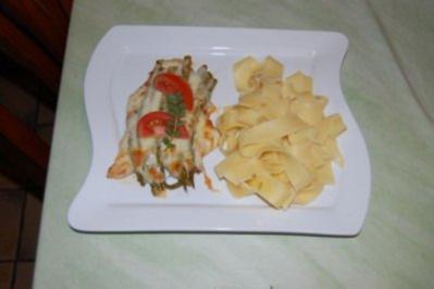Putenschnitzel mit grünem Spargel und Mozzarella gratiniert - Rezept