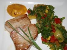 Fisch: Thunfischfilet mit Mangosauce und Paprikasalat - Rezept