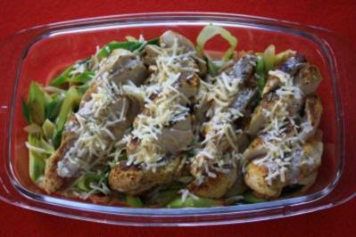 Rezept: Hähnchenbrustfilet auf Lauchgemüse