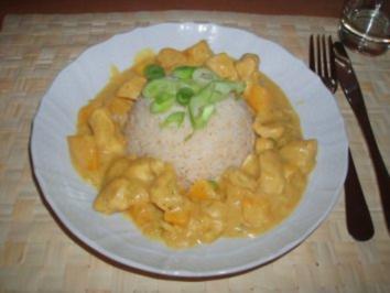 Curry-Huhn mit Pfirsich - Rezept