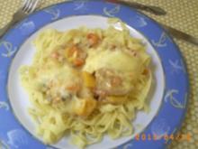 Mittagessen: Filetpfännchen überbacken mit Tagliatelle - Rezept