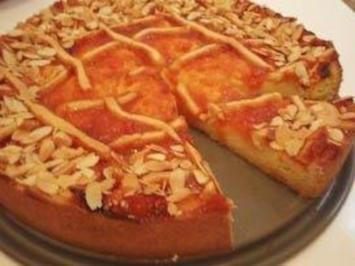 Kuchen: Quarkkuchen mit Aprikosenkonfitüre - Rezept