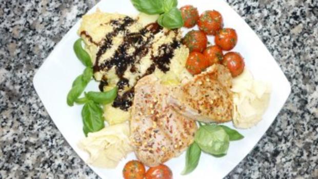 Kartoffel-Spargel-Gratin mit Thunfischsteak ,Kräutertomaten und Tête de Moine - Locken - Rezept