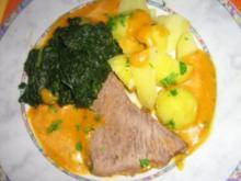 Rinderbraten mit Gemüse-Gorgonzolasauce an Blattspinat und Salzkartoffeln - Rezept