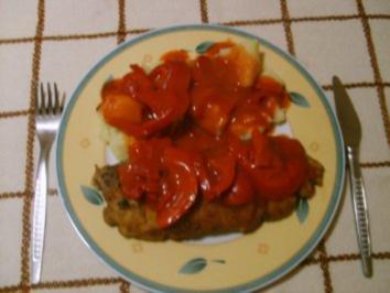 Schnitzel mit Letscho - Rezept