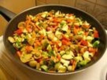 Gebratenes Gemüse süss - sauer - Rezept