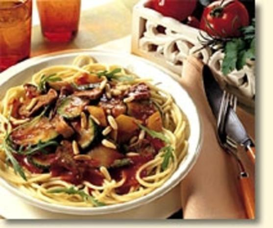 Spaghetti mit Rucola und Lammfilet - Rezept