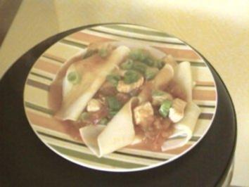Rezept: Puten-Tomaten-Geschnetzeltes in Lasagneblättern