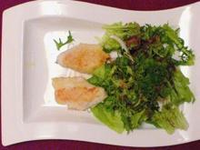 Gebratene Zanderfilets auf Salatvariation mit Kerbelvinaigrette - Rezept