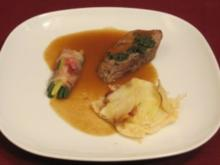 Gratiniertes Kräuter-Kalbsfilet mit Pancetta und Kartoffel-Apfel-Gratin - Rezept