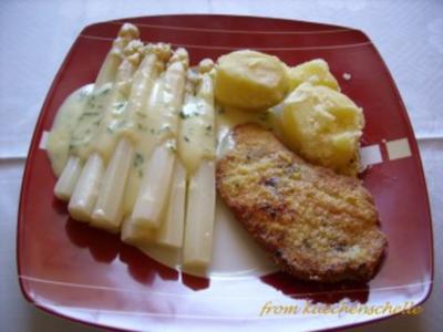 Schnitzel mit Spargel und Sauce Hollandaise - Rezept