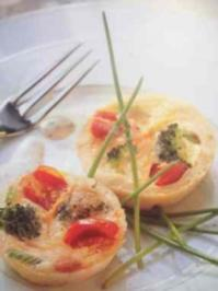 Mini- Gemüsequiches mit Kräutersahne - Rezept