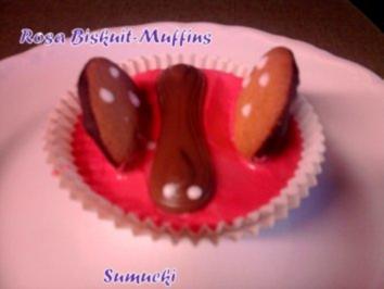 Rosa Biskuit-Muffins mit Puddingkern - Rezept